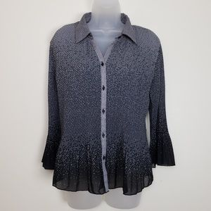 Covington Gray and Black Sheer Geometric Button Do